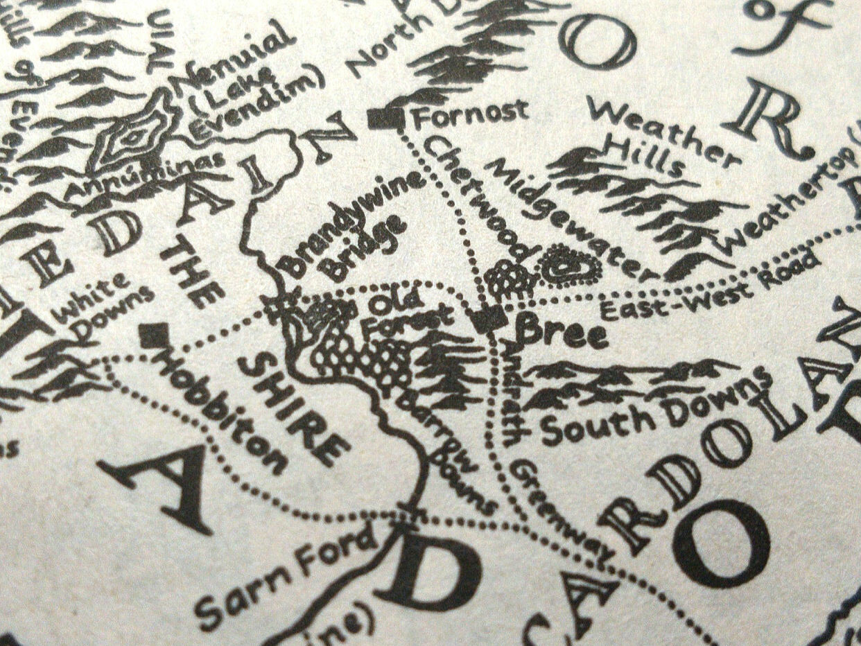 A map of Middle-Earth, including the East Road from Hobbiton to Weathertop.