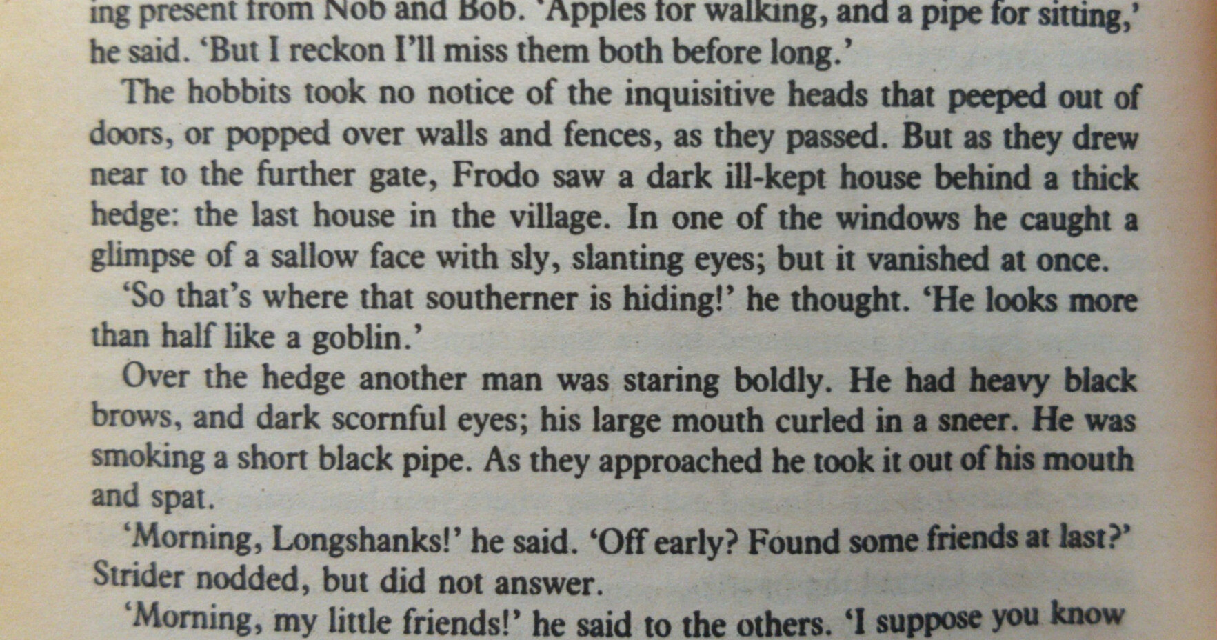 """""""The hobbits took no notice of the inquisitive heads taht peeped out of doors, or popped over walls and fences, as they passed. But as they drew near to the further gate, Frodo saw a dark ill-kept house behind a thick hedge: the last house in the village. In one of the windows he caught a glimpse of a sallow face with sly, slanting eyes; but it vanished at once.<br>'So that's where that southerner is hiding!' he thought. 'He looks more than half like a goblin.'"""""""