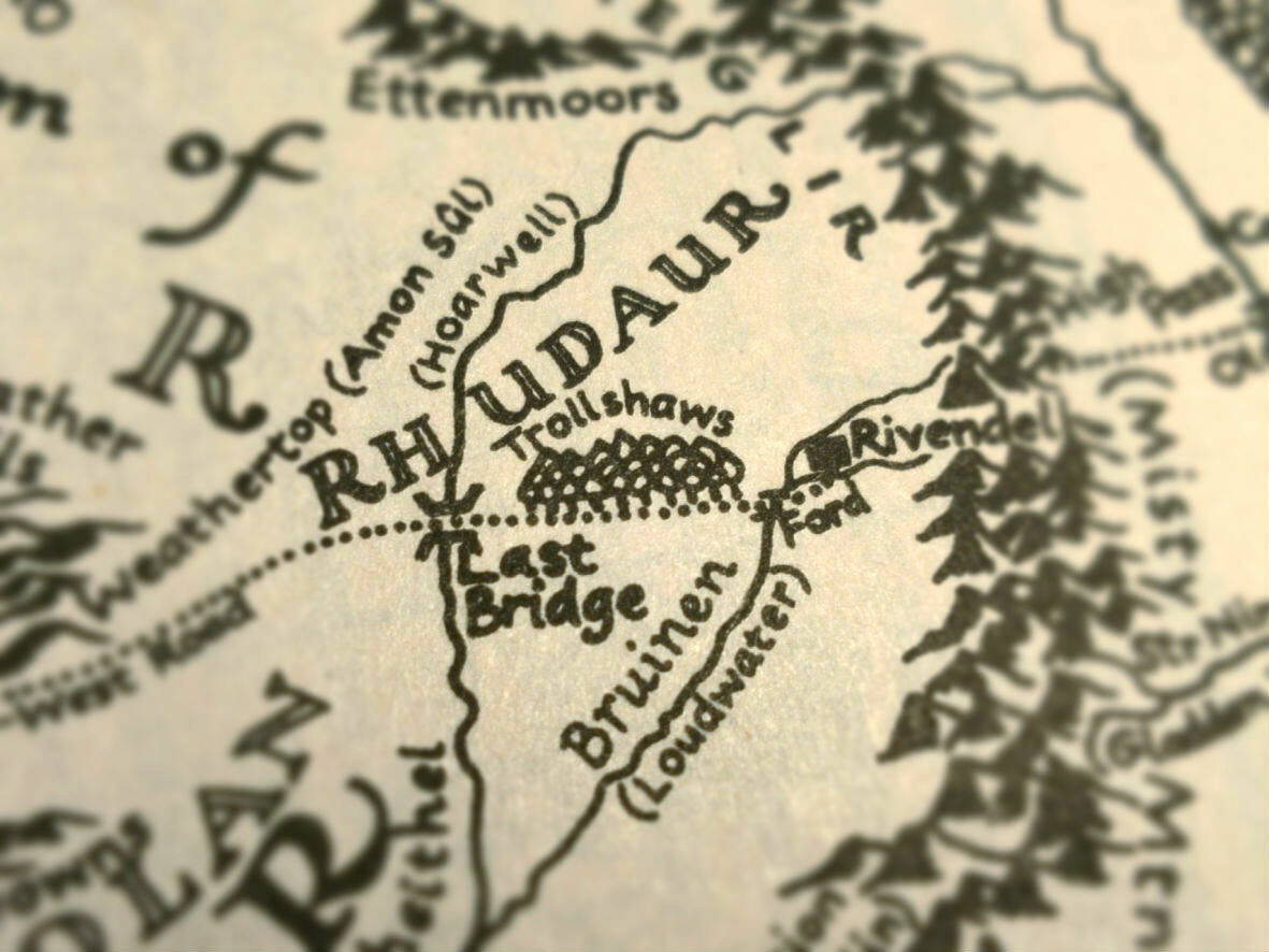 A map of Middle-Earth focused on the wood called the Trollshaws, just west of Rivendell.