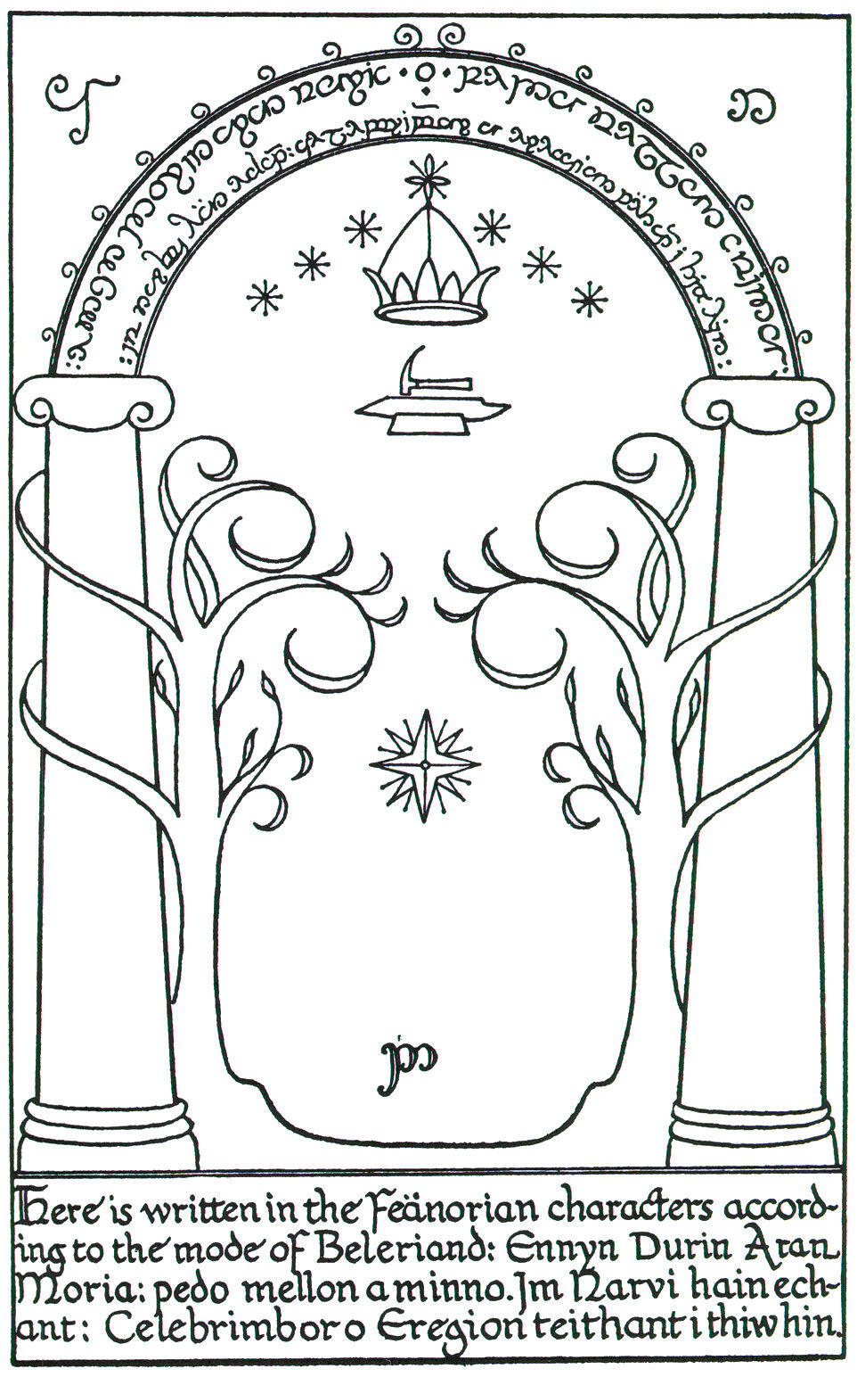 The engraving on Durin's Door at the gate of Moria.