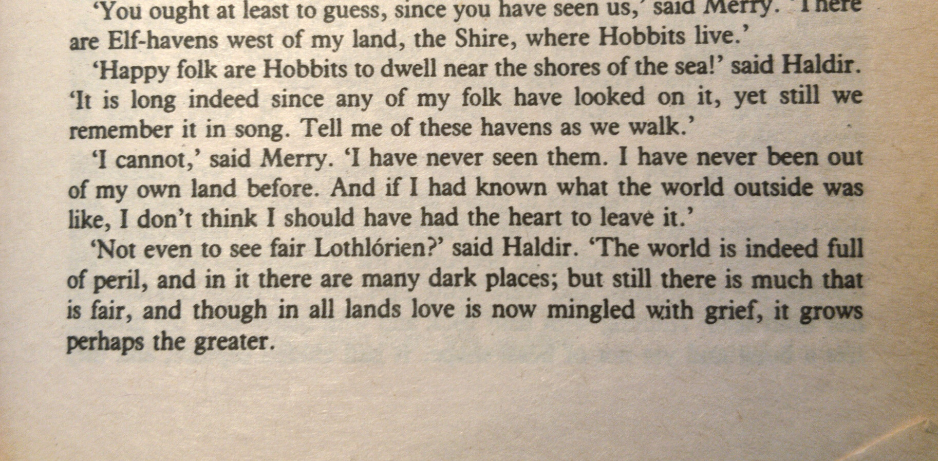 """[Merry:] """"I have never seen [the Havens]. I have never been out of my own land before. And if I had known what the world outside was like, I don't think I should have had the heart to leave it.""""<br>""""Not even to see fair Lothlórien?"""" said Haldir. """"The world is indeed full of peril, and in it there are many dark places; but still there is much that is fair, and though in all lands love is now mingled with grief, it grows perhaps the greater."""""""